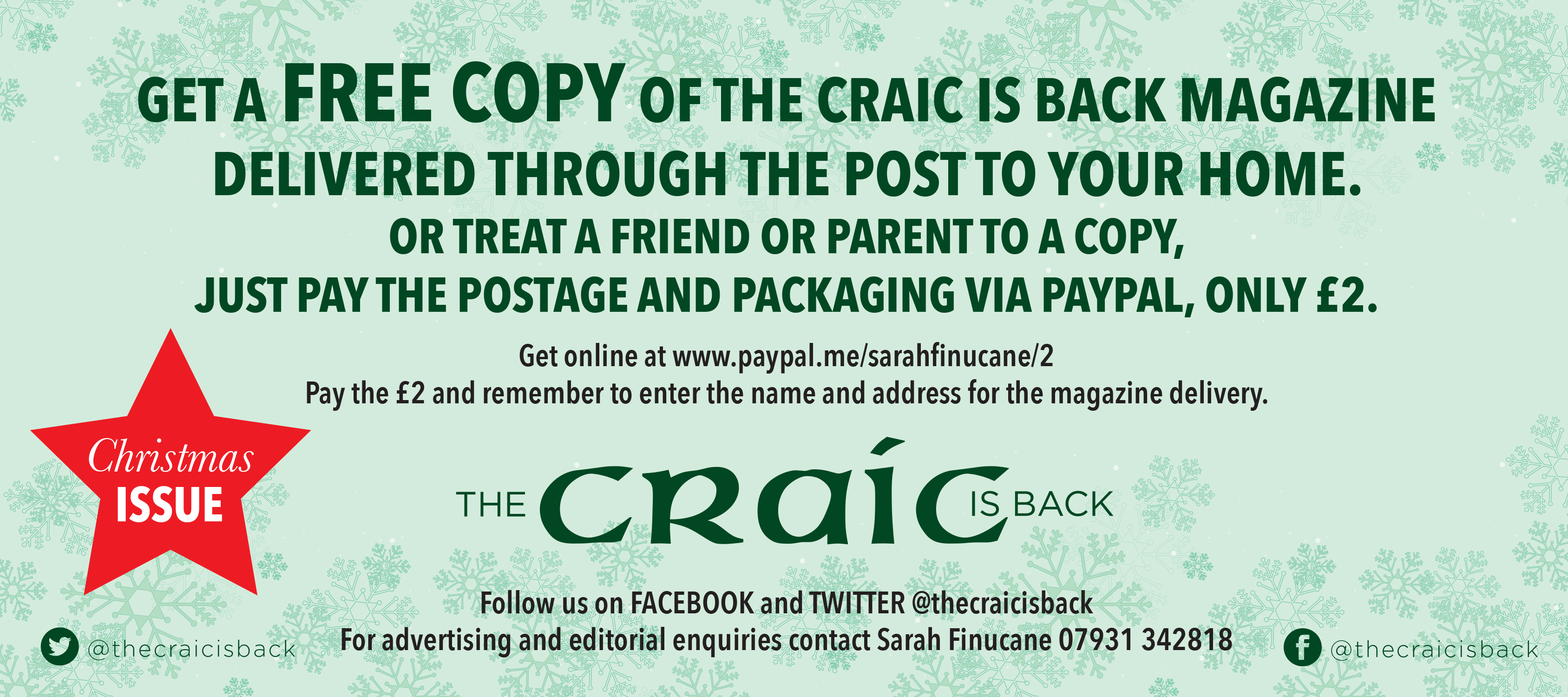 The Craic is Back - Get a free copy delivered!